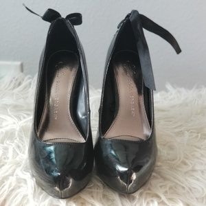 Black heels with tie on the back